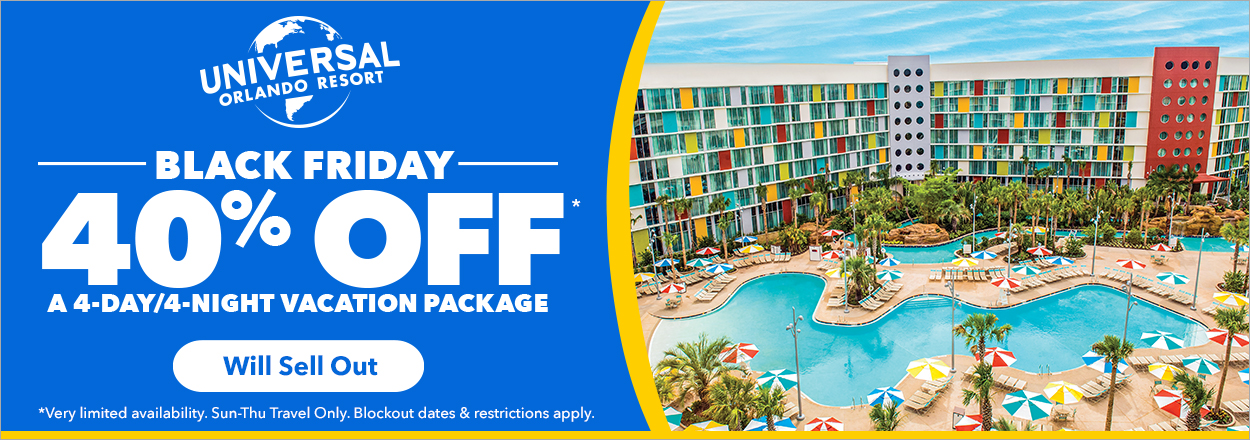 Save 40% on a vacation package and enjoy four full days and nights of awesome at Universal Orlando Resort.